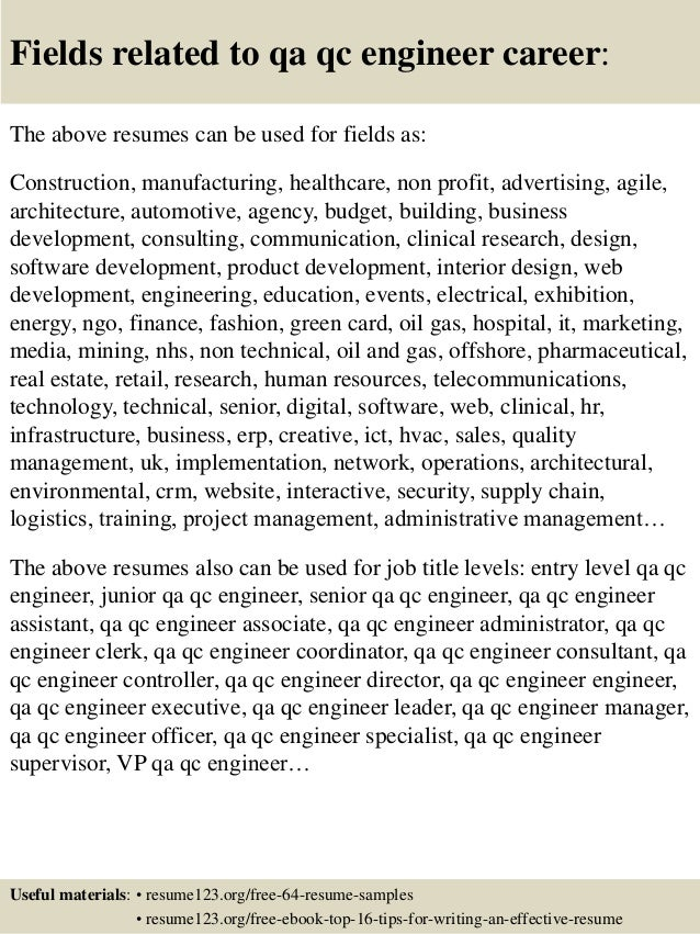 Top 8 Qa Qc Engineer Resume Samples
