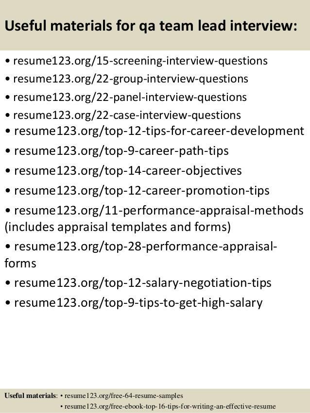top 8 qa team lead resume samples