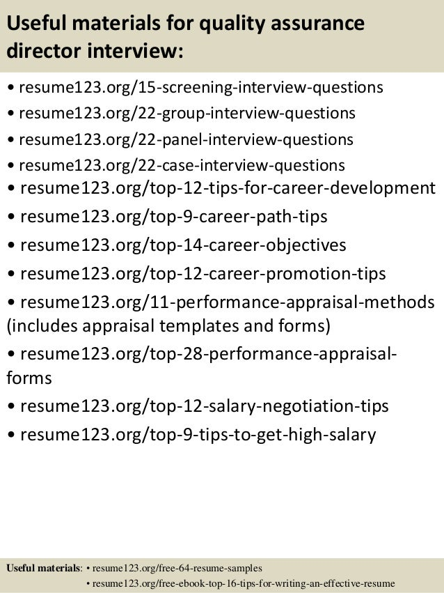 Resume Quality Manager Resume Objective Examples Top 8 Quality Assurance  Director Resume Samples 15 Useful Materials