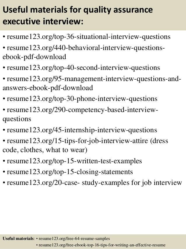 top 8 quality assurance executive resume samples