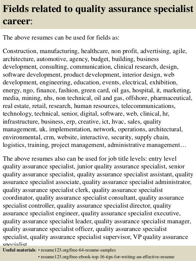 16 Fields Related To Quality Assurance Specialist