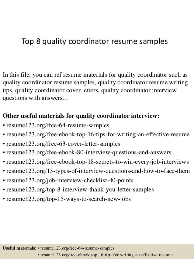 top 8 quality coordinator resume samples