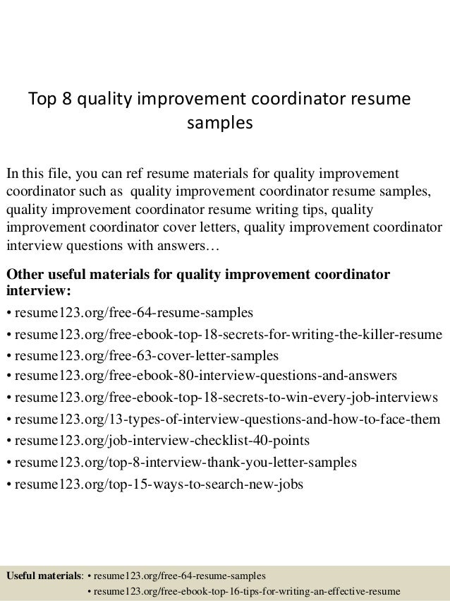 top 8 quality improvement coordinator resume samples