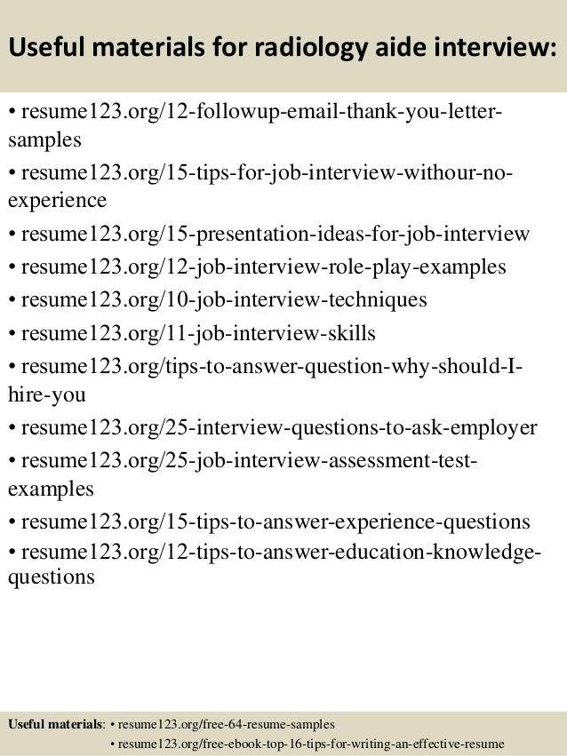 Top 8 radiology aide resume samples