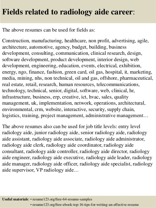 top 8 radiology aide resume samples