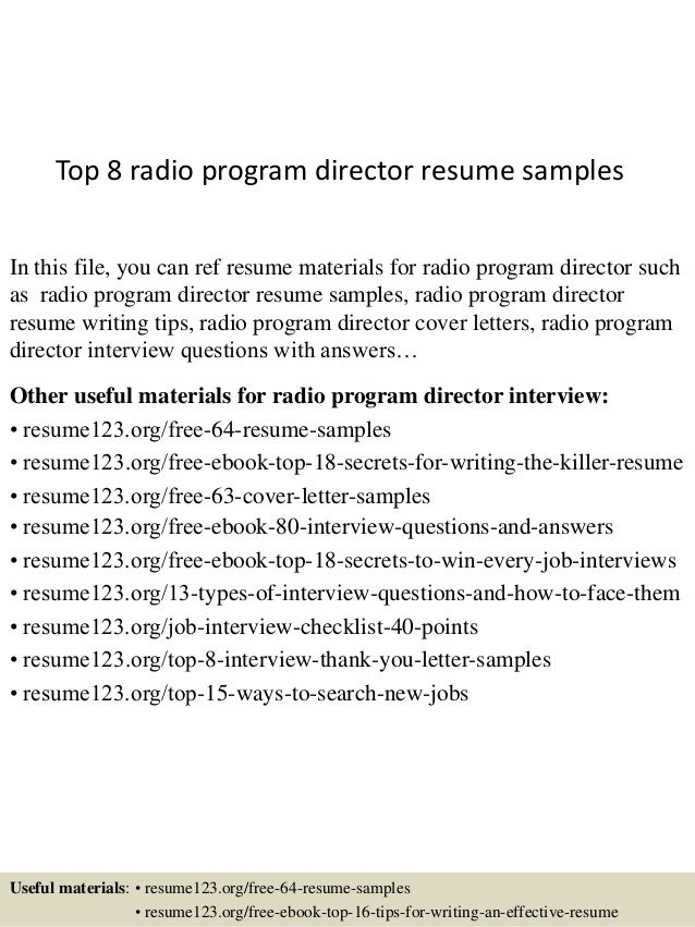 top 8 radio program director resume samples in this file you can ref resume materials