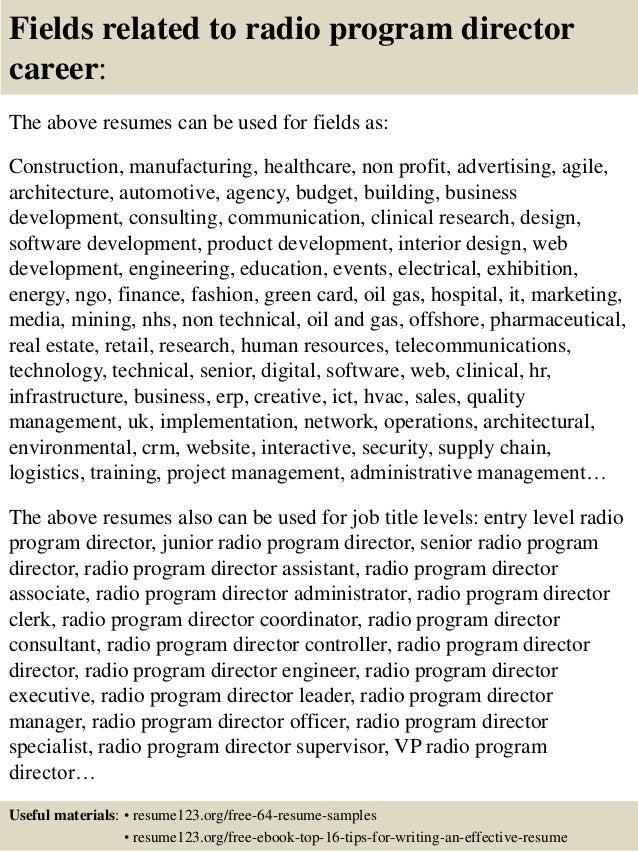 ... 16. Fields Related To Radio Program Director ...