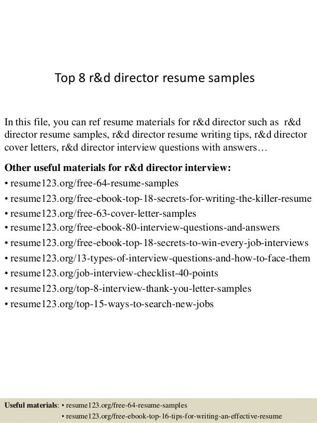 top 8 r d director resume samples