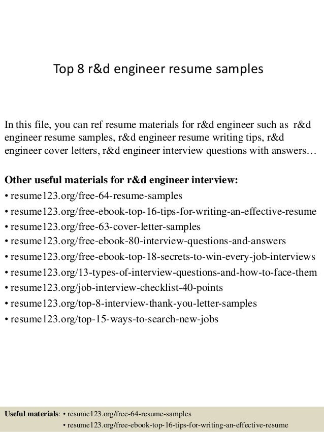 Top 8 R Amp D Engineer Resume Samples