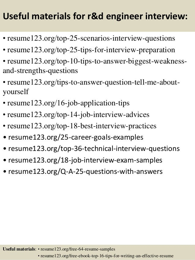 13 useful materials for rd engineer - R And D Test Engineer Sample Resume