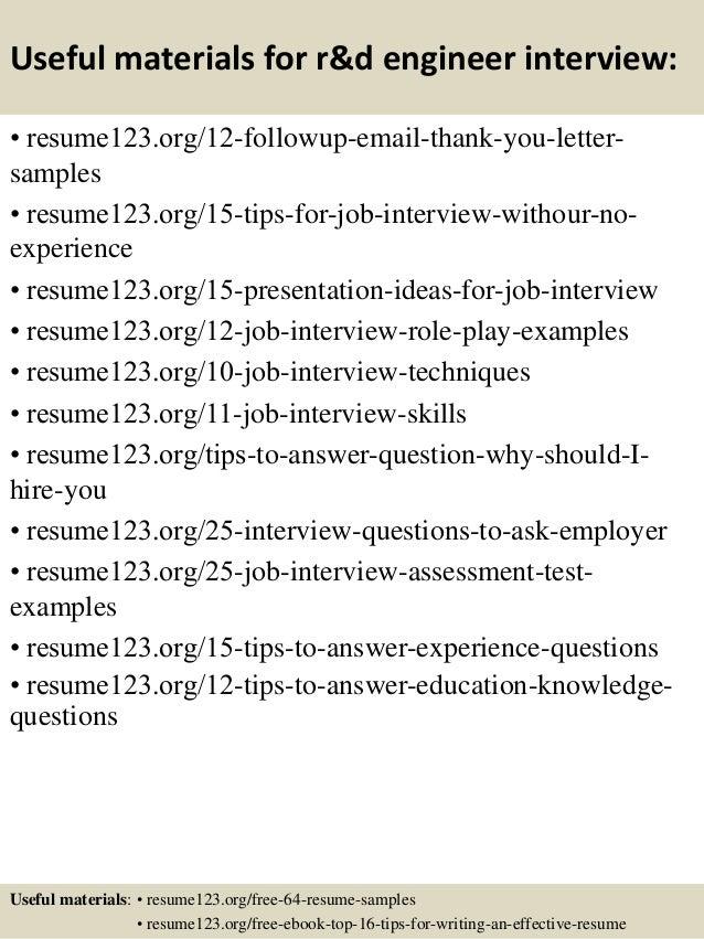 Top 8 r&d engineer resume samples