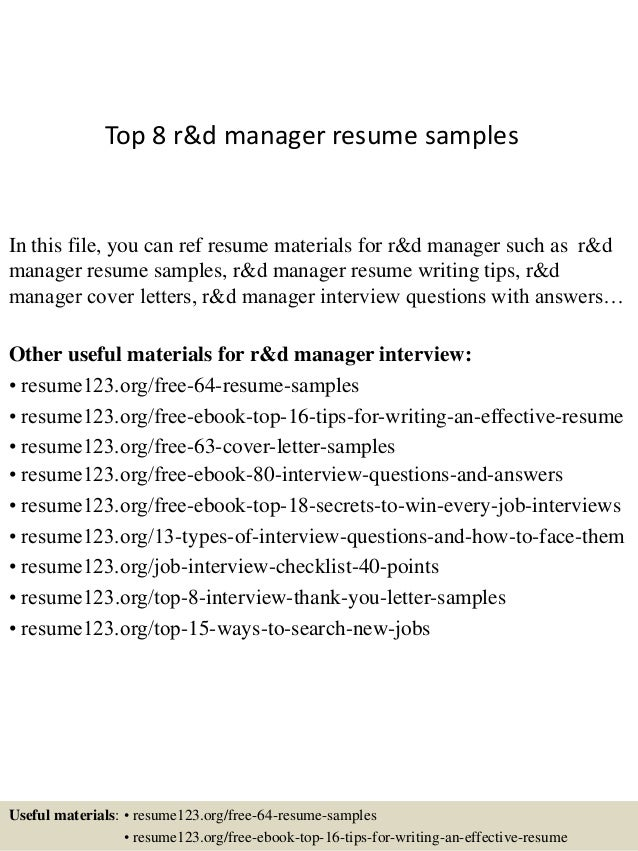 top 8 r d manager resume samples