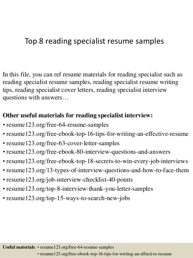 top 8 reading specialist resume samples