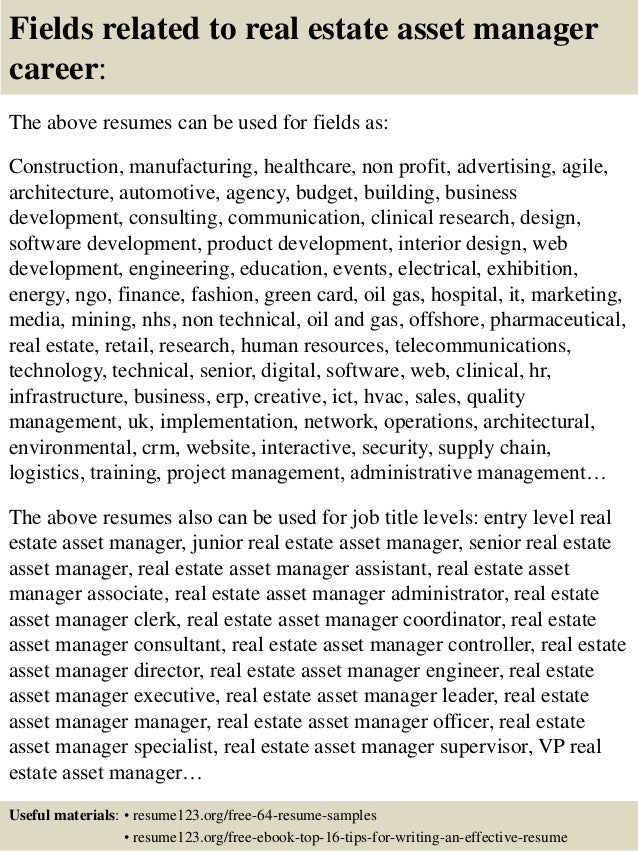 16 fields related to real estate asset manager career the above resumes - Asset Manager Resume Sample