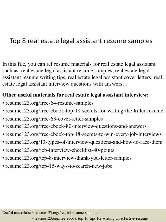Top 8 real estate legal assistant resume samples for Legal document assistant courses