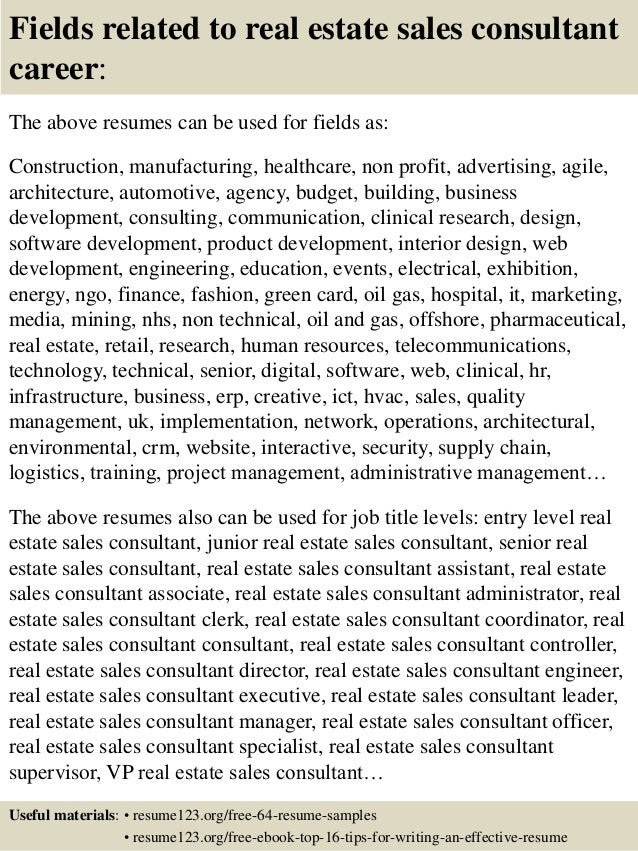 16 fields related to real estate sales consultant - Real Estate Consultant Sample Resume