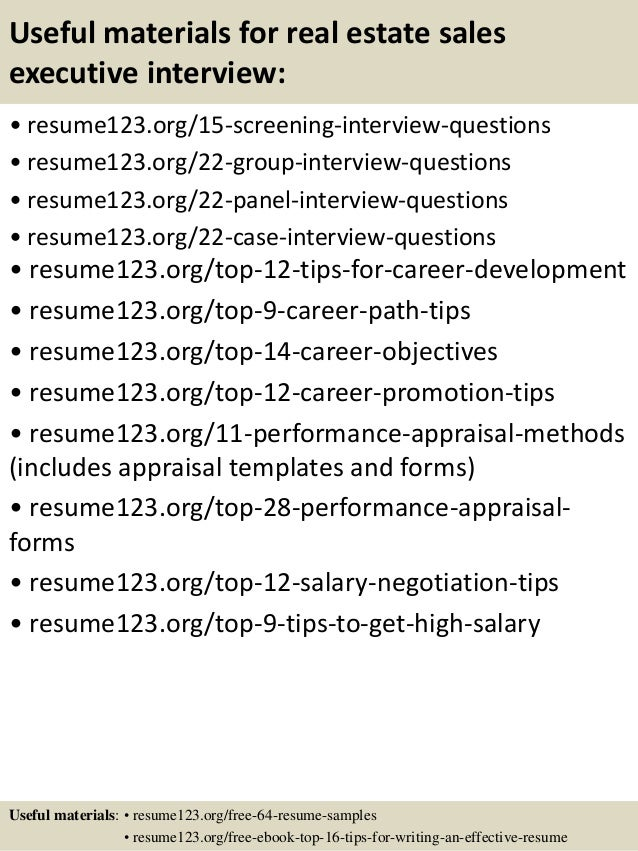 15 useful materials for real estate sales executive - Sale Executive Resume Sample
