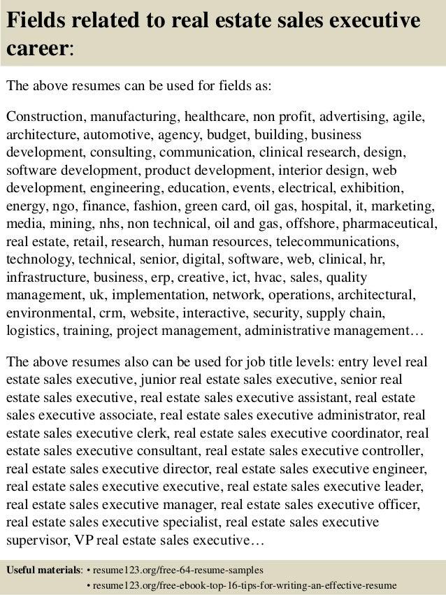 Top 8 real estate sales executive resume samples