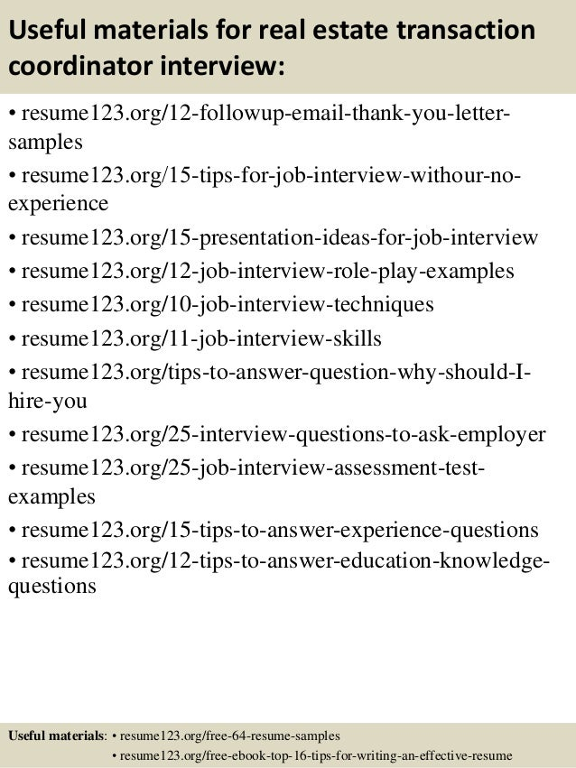 Transaction Coordinator Resume Sample