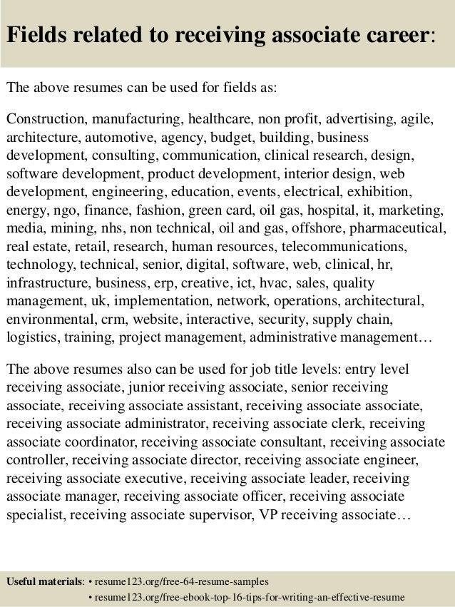 top 8 receiving associate resume samples