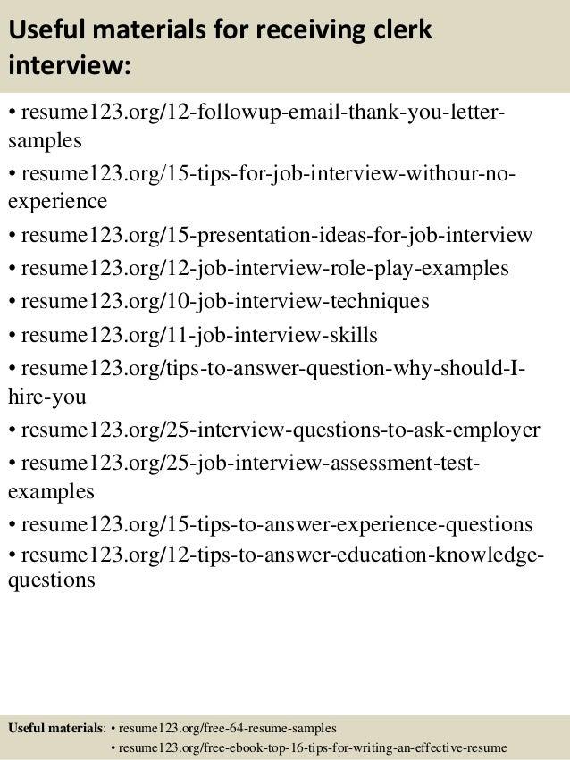 14 useful materials for receiving clerk - Receiving Clerk Sample Resume