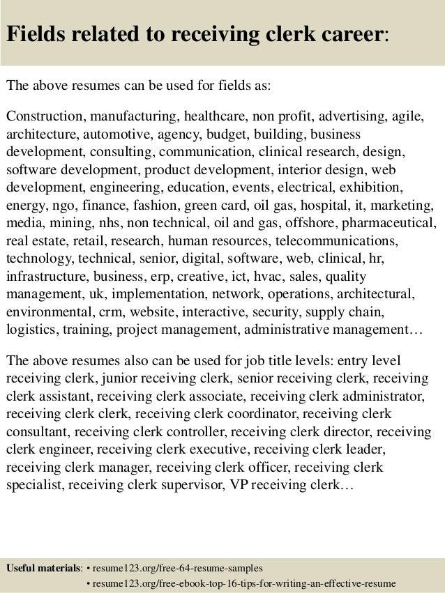 receiving clerk resume receiving shipping and receiving clerk