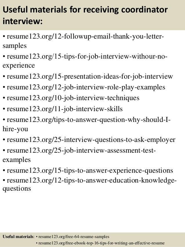 Top 8 receiving coordinator resume samples