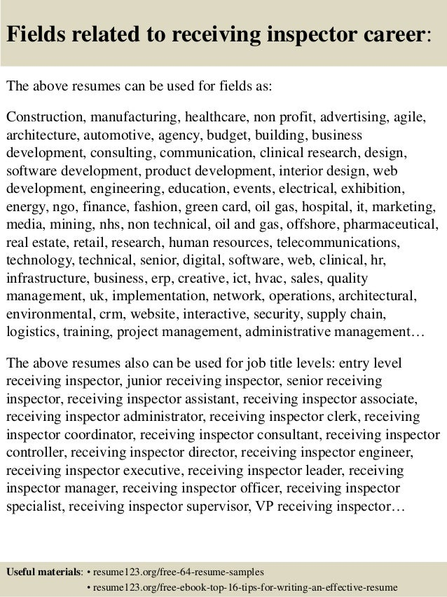 Top 8 Receiving Inspector Resume Samples