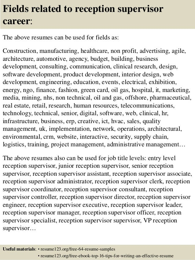 top 8 reception supervisor resume samples