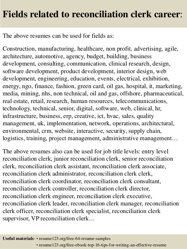 ... 16. Fields Related To Reconciliation Clerk Career: The Above Resumes ...