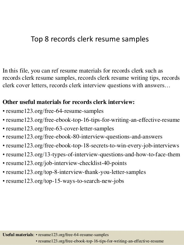 Top 8 records clerk resume samples In this file, you can ref resume materials for records clerk such as records clerk resu...
