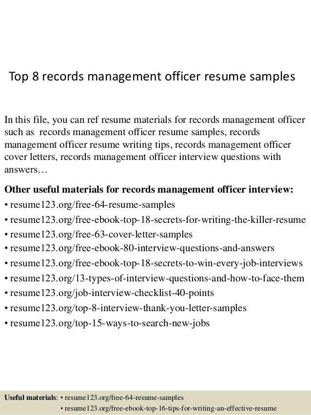 sample records management resume