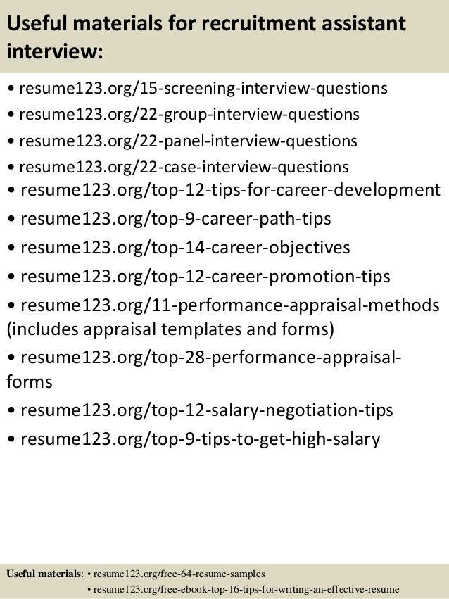 top 8 recruitment assistant resume samples