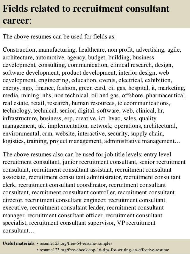 Top 8 recruitment consultant resume samples