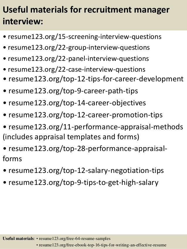 ... 15. Useful Materials For Recruitment Manager ...