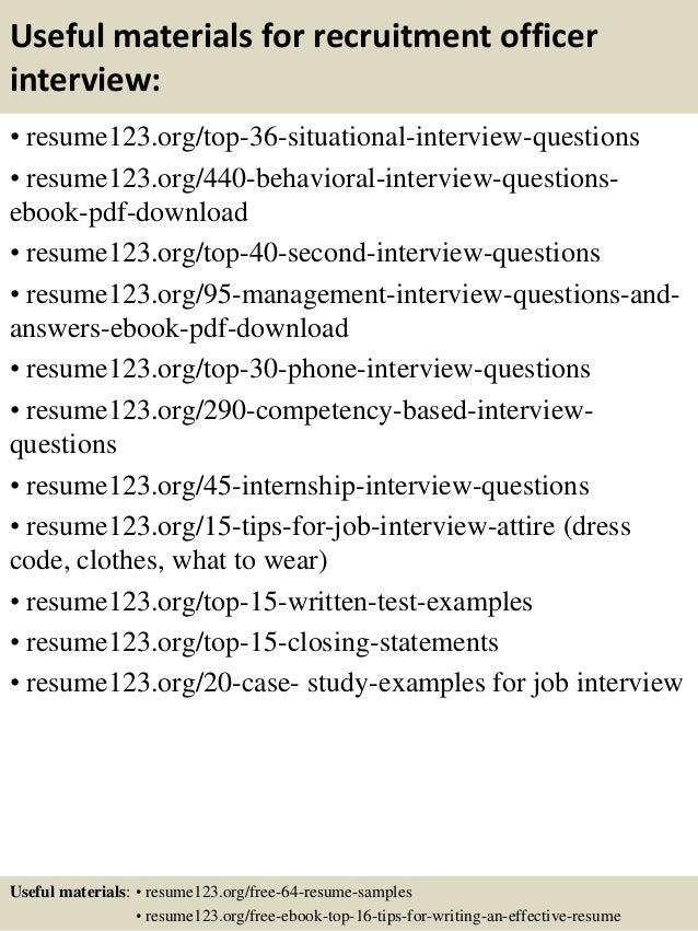 top 8 recruitment officer resume samples