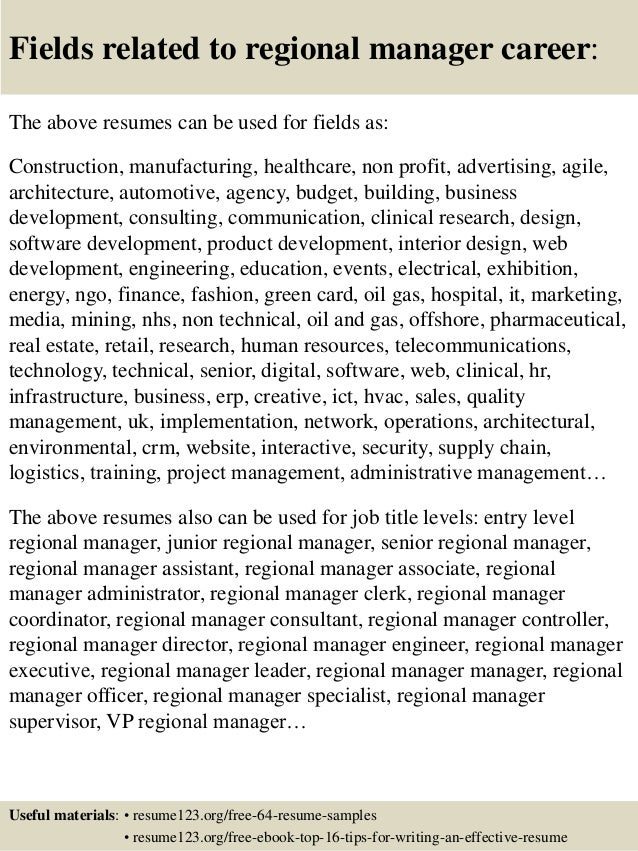 16 fields related to regional manager