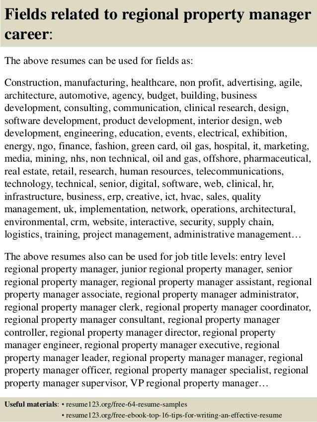 Top 8 regional property manager resume samples