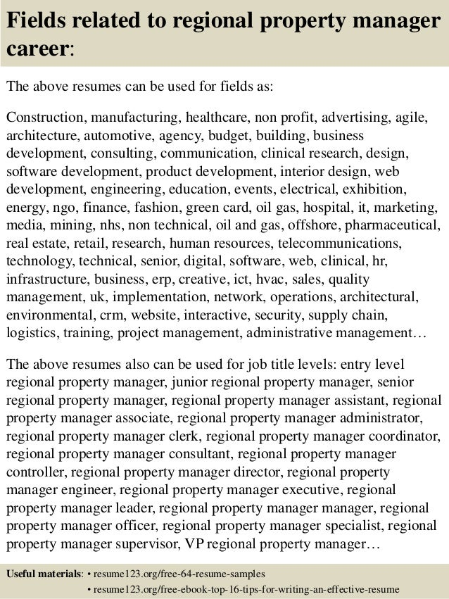 Top 8 Regional Property Manager Resume Samples