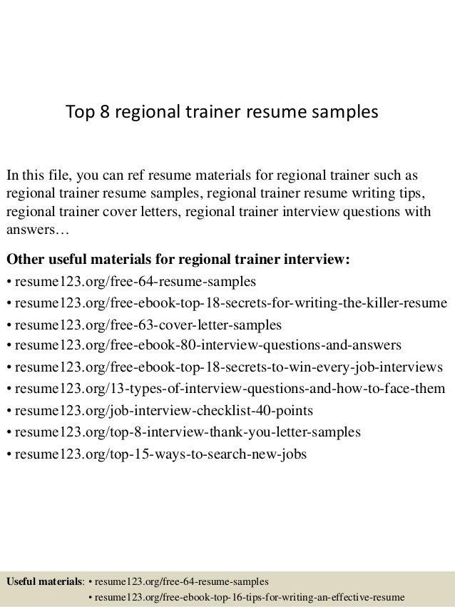 Top 8 regional trainer resume samples