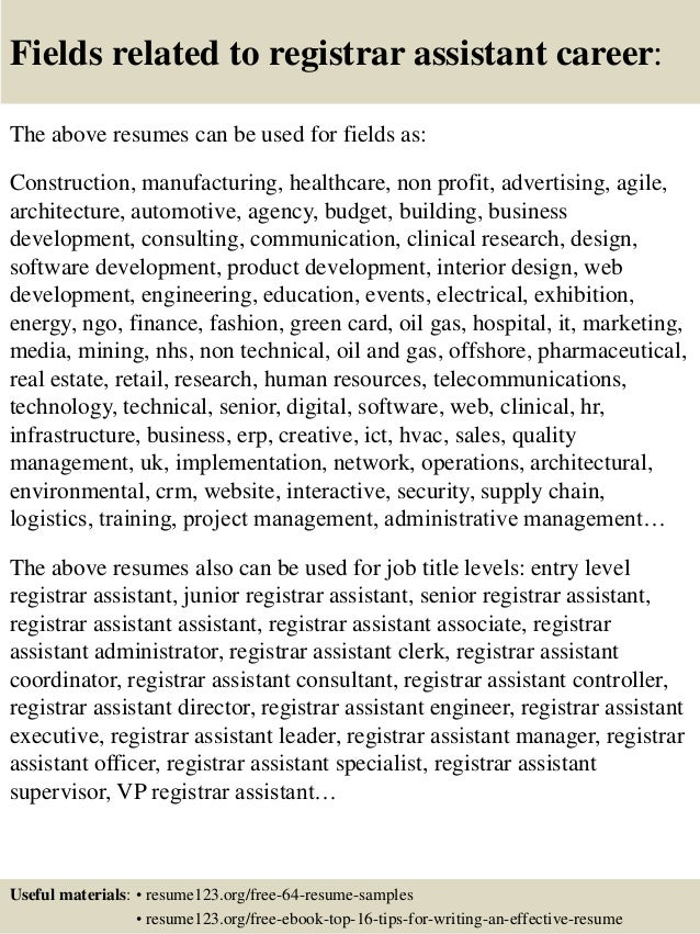 ... 16. Fields Related To Registrar ...  Registrar Resume