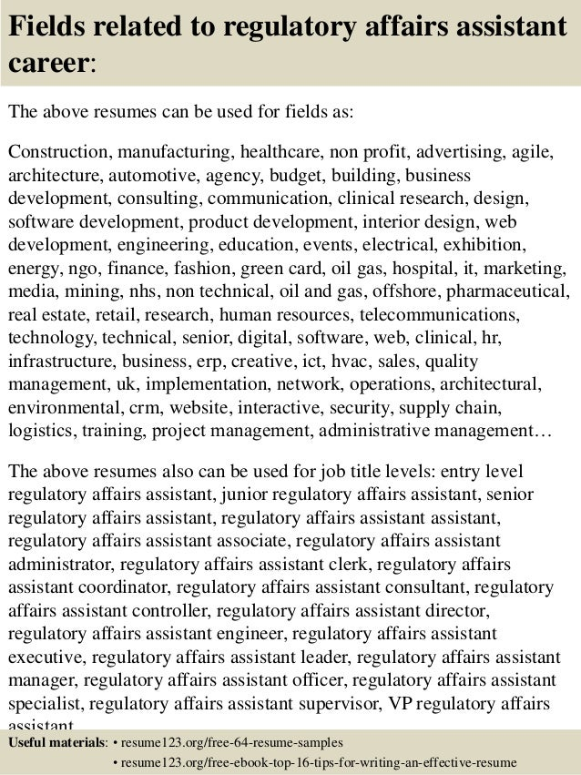 16 fields related to regulatory affairs - Regulatory Affairs Resume Sample