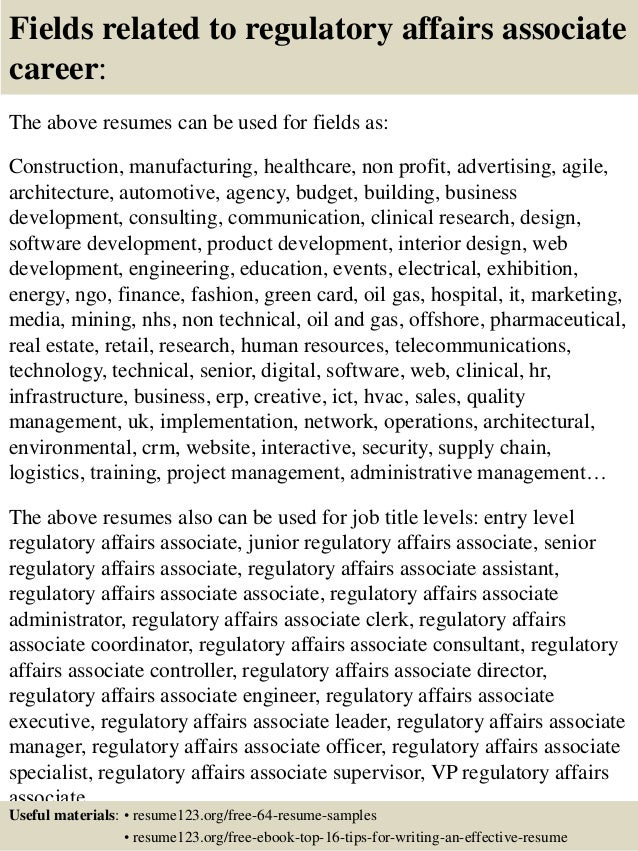 ... 16. Fields Related To Regulatory Affairs ...