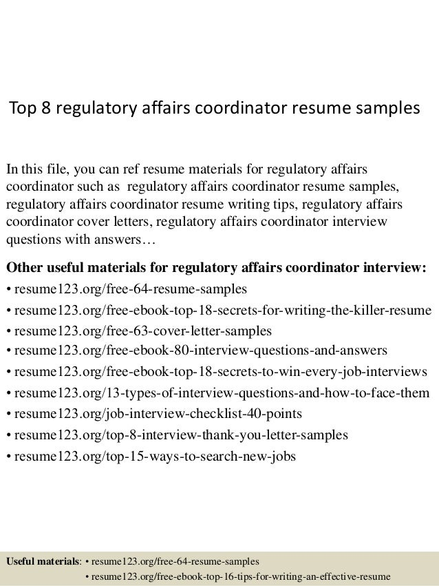 top 8 regulatory affairs coordinator resume sles