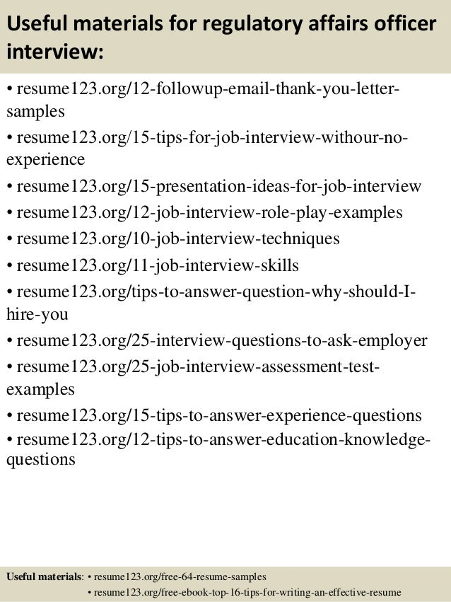 14 useful materials for regulatory affairs - Regulatory Affairs Resume Sample