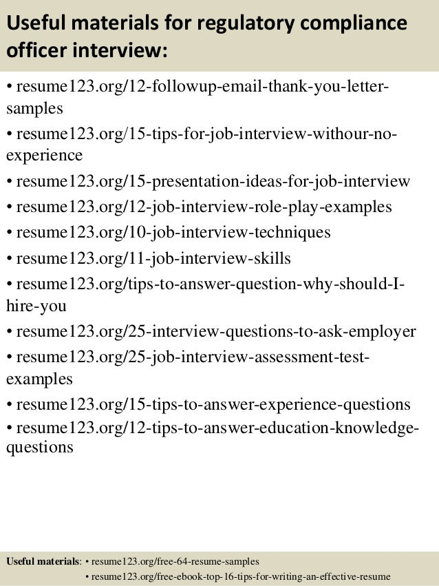 14 useful materials for regulatory compliance officer - Regulatory Compliance Officer Sample Resume