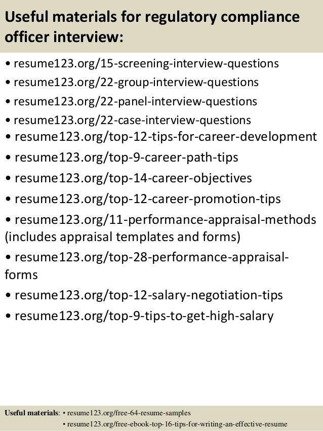 regulatory compliance resume