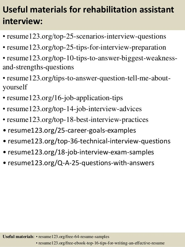 top 8 rehabilitation assistant resume samples
