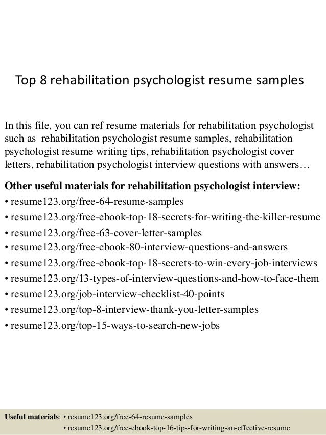 top 8 rehabilitation psychologist resume samples in this file you can ref resume materials for