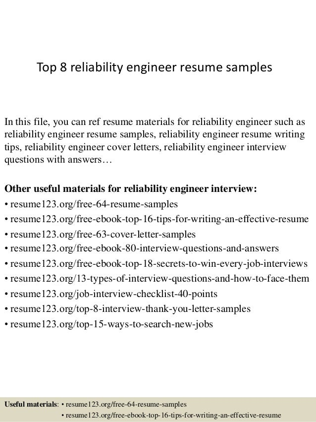 top 8 reliability engineer resume samples in this file you can ref resume materials for - Reliability Engineer Sample Resume